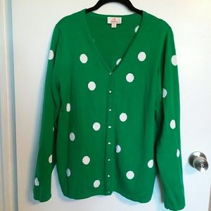 Quacker Factory Green Cardigan with Dots